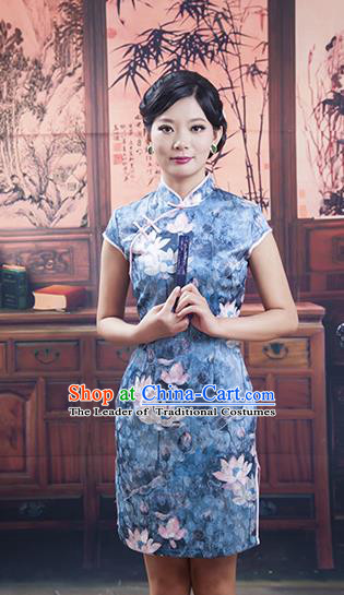 Traditional Ancient Chinese Republic of China Young Lady Blue Silk Short Cheongsam, Asian Chinese Chirpaur Qipao Dress Clothing for Women