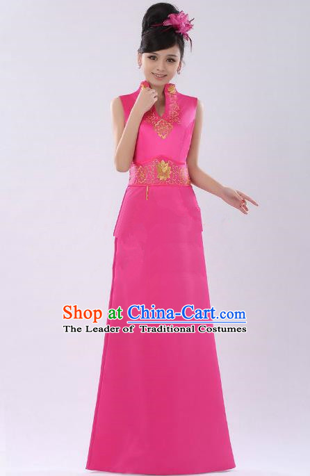 Traditional Ancient Chinese Republic of China Young Lady Pink Long Cheongsam, Asian Chinese Chirpaur Qipao Dress Clothing for Women