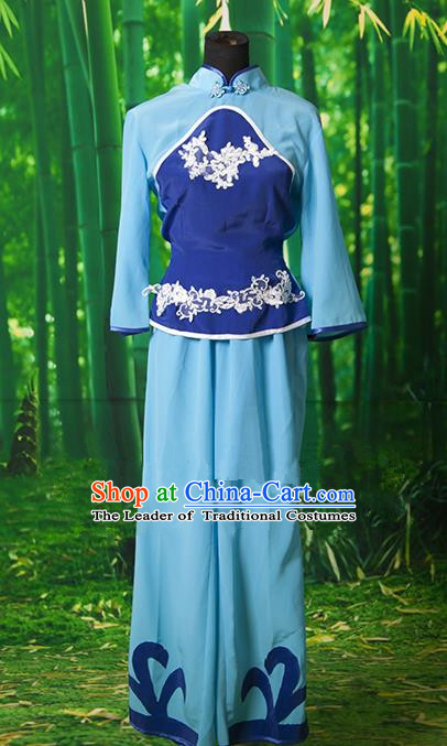 Traditional Chinese Yangge Fan Dancing Costume, Folk Dance Yangko Blue Clothing for Women