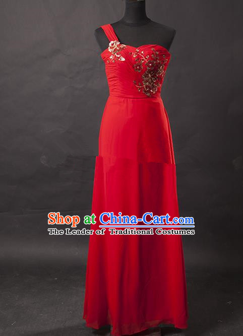 Traditional Chinese Modern Dancing Costume, Women Opening Classic Chorus Singing Group Paillette Red Dress for Women