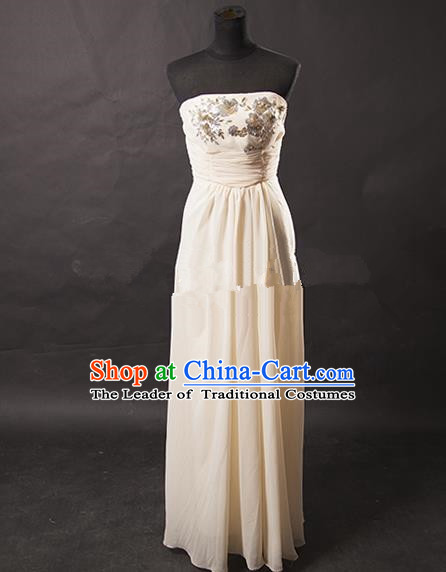 Traditional Chinese Modern Dancing Costume, Women Opening Classic Chorus Singing Group White Full Dress for Women