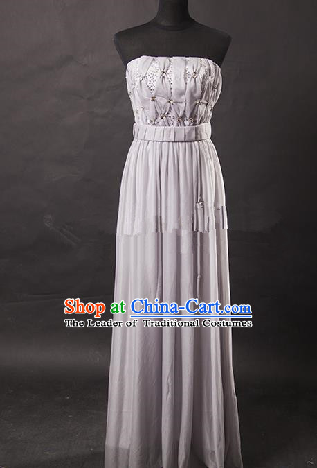 Traditional Chinese Modern Dancing Costume, Women Opening Classic Chorus Singing Group Grey Full Dress for Women
