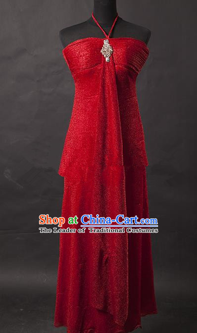 Traditional Chinese Modern Dancing Costume, Women Opening Classic Chorus Singing Group Red Full Dress for Women