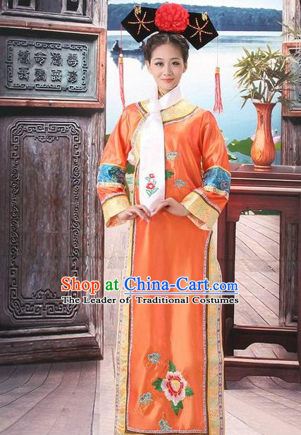 Traditional Ancient Chinese Manchu Palace Lady Costume, Asian Chinese Qing Dynasty Princess Orange Embroidered Dress Clothing for Women