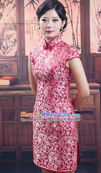 Traditional Ancient Chinese Republic of China Cheongsam Costume, Asian Chinese Red Silk Chirpaur Dress Clothing for Women