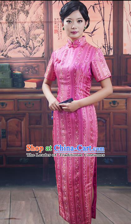 Traditional Ancient Chinese Republic of China Long Pink Cheongsam Costume, Asian Chinese Printing Silk Chirpaur Dress Clothing for Women