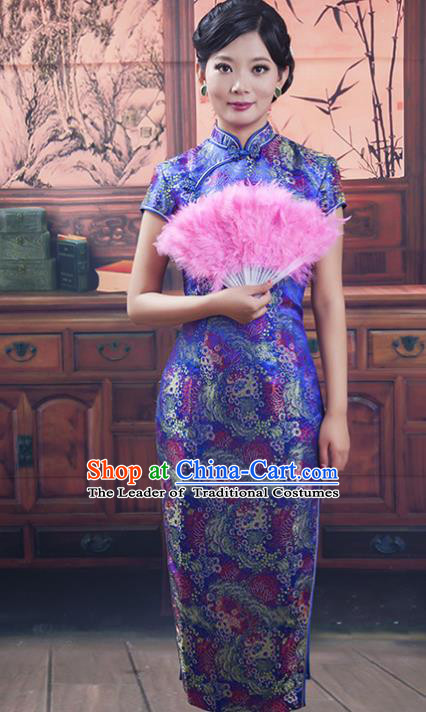 Traditional Ancient Chinese Republic of China Long Purple Cheongsam Costume, Asian Chinese Printing Silk Chirpaur Dress Clothing for Women