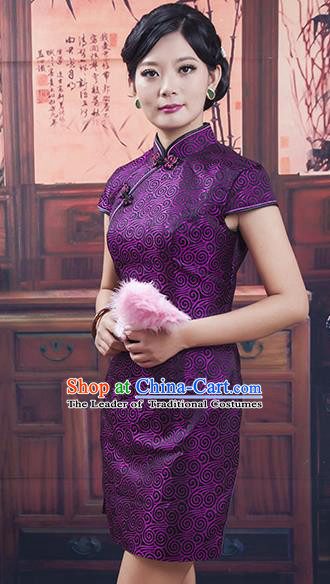 Traditional Ancient Chinese Republic of China Short Purple Cheongsam Costume, Asian Chinese Printing Silk Chirpaur Dress Clothing for Women