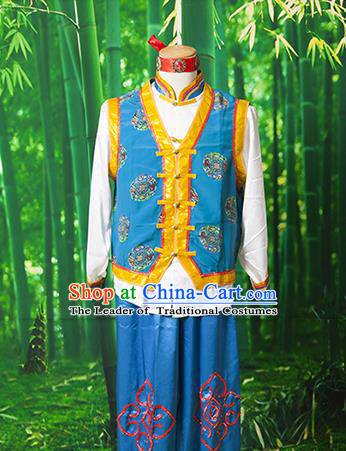 Traditional Chinese Mongol Nationality Dancing Costume, Mongols Ethnic Nationality Embroidery Clothing for Men