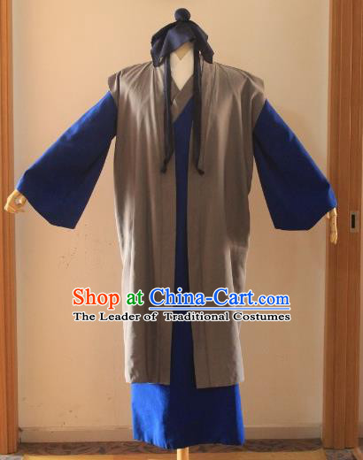 Traditional Chinese Classical Ancient Madam White Snake Xu Xian Costume, Asian China Song Dynasty Clothing for Men