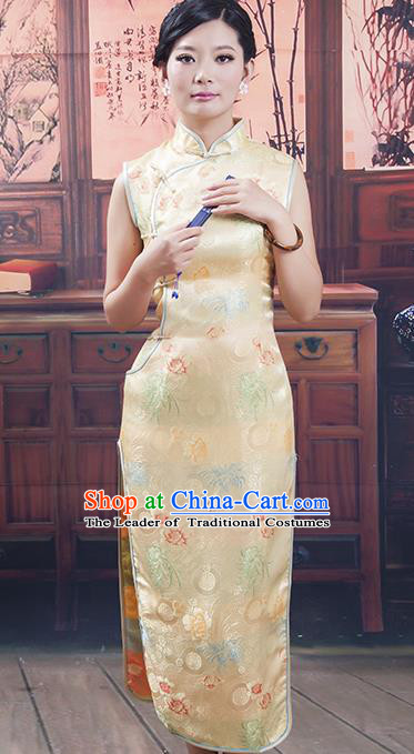 Traditional Ancient Chinese Republic of China Cheongsam Costume, Asian Chinese Golden Silk Chirpaur Clothing for Women