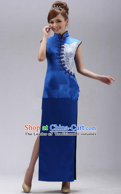 Traditional Ancient Chinese Republic of China Cheongsam Costume, Asian Chinese Blue Silk Chirpaur Clothing for Women