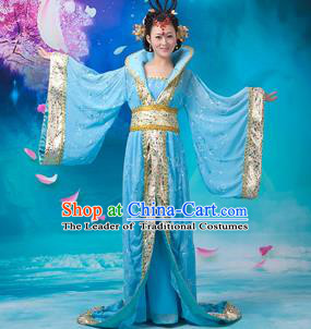 Asian China Ancient Tang Dynasty Imperial Concubine Costume, Traditional Chinese Hanfu Embroidered Blue Dress Clothing for Women