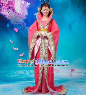 Asian China Ancient Tang Dynasty Imperial Concubine Costume, Traditional Chinese Hanfu Embroidered Red Dress Clothing for Women