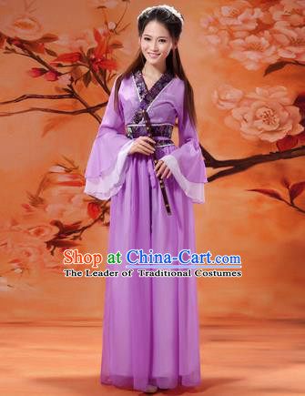 Asian China Ancient Tang Dynasty Imperial Concubine Costume, Traditional Chinese Hanfu Embroidered Purple Fairy Dress Clothing for Women
