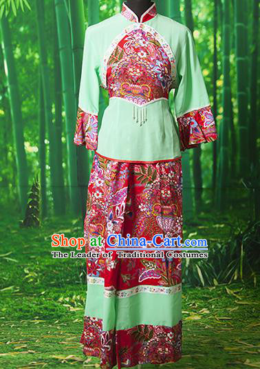 Traditional Chinese Classical Dance Yangge Fan Dancing Costume, Folk Dance Drum Dance Yangko Green Clothing for Women