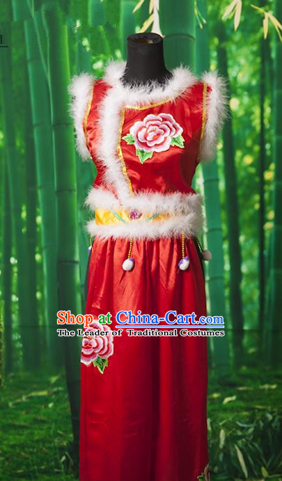 Traditional Chinese Classical Dance Yangge Fan Dancing Costume, Folk Dance Drum Dance Yangko Red Clothing for Women