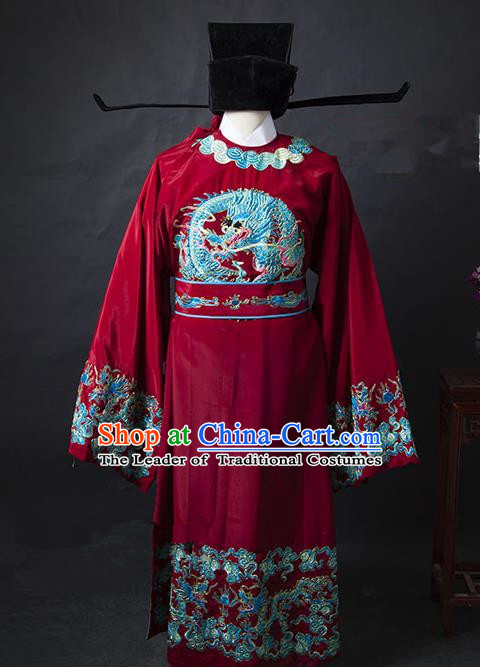 Traditional Chinese Peking Opera Bao Zheng Costume Embroidered Robe, China Ancient Beijing Opera Red Gwanbok for Men