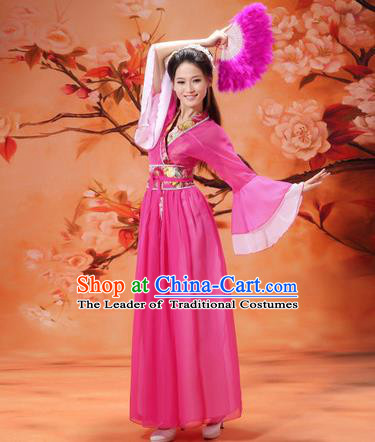 Asian China Ancient Tang Dynasty Young Lady Costume, Traditional Chinese Hanfu Princess Embroidered Rosy Dress Clothing for Women