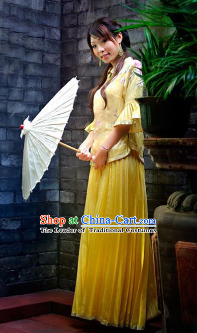 Traditional Ancient Chinese Manchu Nobility Lady Yellow Costume, Asian Chinese Qing Dynasty Embroidered Dress Clothing for Women