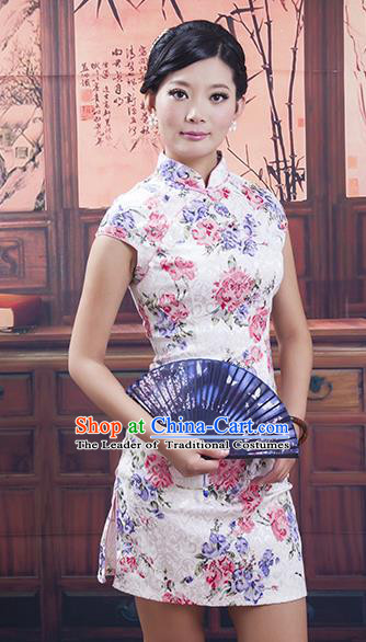 Traditional Chinese National Costume White Qipao Printing Short Cheongsam Dress for Women