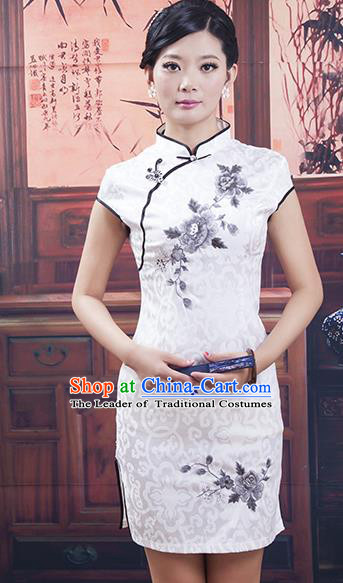 Traditional Chinese National Costume White Qipao Ink Printing Peony Short Cheongsam Dress for Women