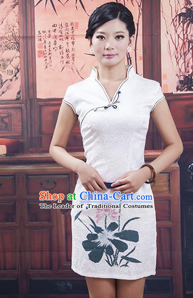 Traditional Ancient Chinese Republic of China Cheongsam Costume, Asian Chinese Printing Lotus White Chirpaur Clothing for Women