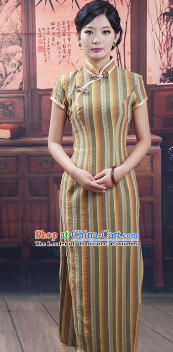 Traditional Ancient Chinese Republic of China Cheongsam Costume, Asian Chinese Chirpaur Clothing for Women