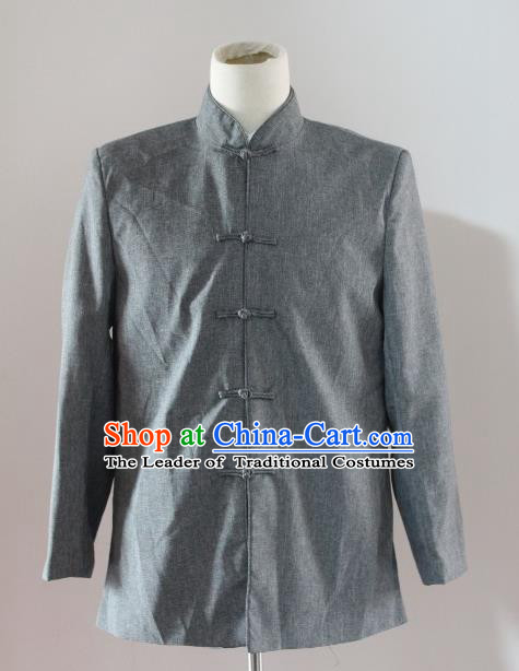 Traditional Ancient Chinese National Costume Mandarin Jacket, Asian Chinese Republic of China Plated Buttons Shirt for Men