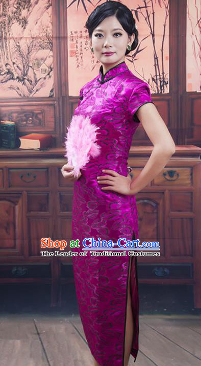 Traditional Ancient Chinese Republic of China Purple Silk Cheongsam, Asian Chinese Chirpaur Qipao Dress Clothing for Women