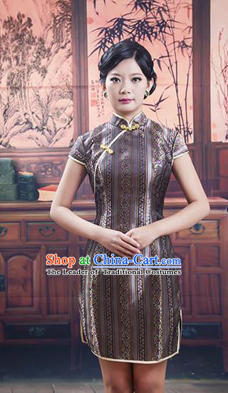 Traditional Ancient Chinese Republic of China Grey Silk Short Cheongsam, Asian Chinese Chirpaur Printing Qipao Dress Clothing for Women