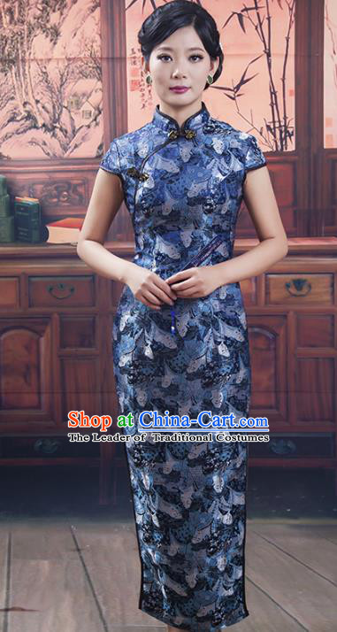Traditional Ancient Chinese Republic of China Blue Silk Short Cheongsam, Asian Chinese Chirpaur Printing Qipao Dress Clothing for Women