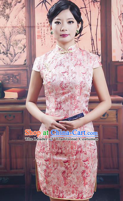 Traditional Ancient Chinese Republic of China Pink Silk Short Cheongsam, Asian Chinese Chirpaur Printing Qipao Dress Clothing for Women
