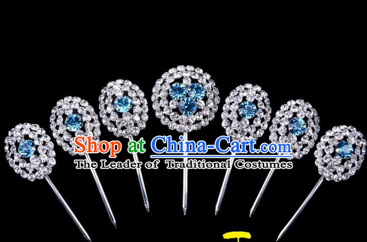 Traditional Beijing Opera Diva Hair Accessories Blue Crystal Head Ornaments Hairpins Complete Set, Ancient Chinese Peking Opera Hua Tan Hair Stick Headwear