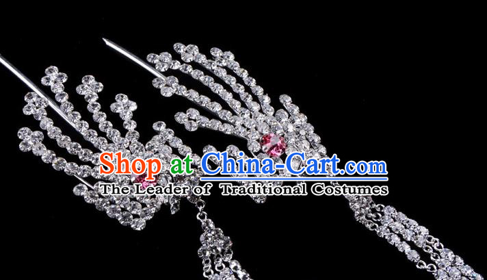 Traditional Beijing Opera Diva Hair Accessories Pink Crystal Inclined Phoenix Tassel Hairpins, Ancient Chinese Peking Opera Hua Tan Hair Stick Headwear