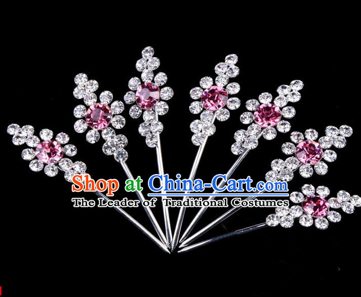 Traditional Beijing Opera Diva Hair Accessories Pink Crystal Head Ornaments Complete Set, Ancient Chinese Peking Opera Hua Tan Hairpins Hair Stick Headwear