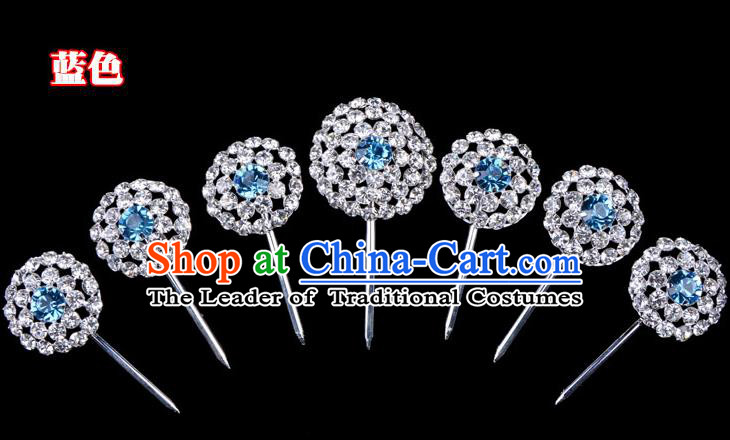 Traditional Beijing Opera Diva Hair Accessories Blue Crystal Head Ornaments Complete Set, Ancient Chinese Peking Opera Hua Tan Round Hairpins Hair Stick Headwear