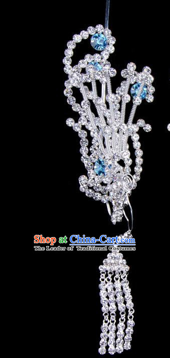 Traditional Beijing Opera Diva Hair Accessories Blue Crystal Phoenix Head Ornaments, Ancient Chinese Peking Opera Hua Tan Tassel Hairpins Hair Stick Headwear