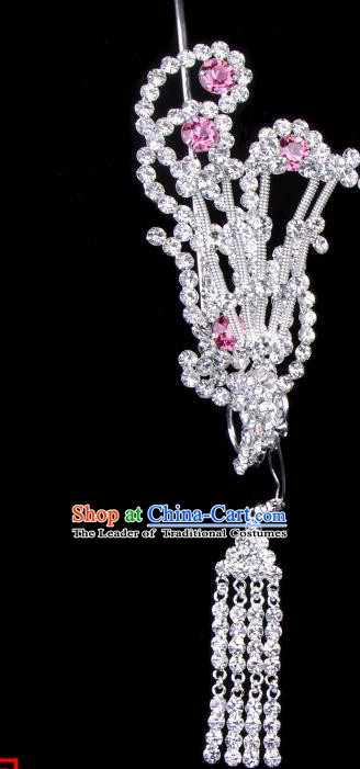Traditional Beijing Opera Diva Hair Accessories Pink Crystal Phoenix Head Ornaments, Ancient Chinese Peking Opera Hua Tan Tassel Hairpins Hair Stick Headwear