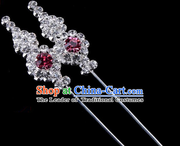 Traditional Beijing Opera Diva Hair Accessories Pink Crystal Head Ornaments, Ancient Chinese Peking Opera Hua Tan Hairpins Hair Stick Headwear