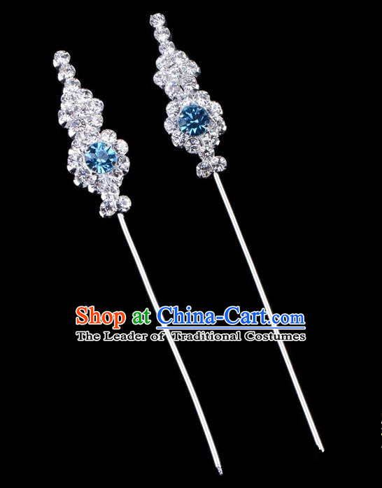 Traditional Beijing Opera Diva Hair Accessories Blue Crystal Head Ornaments, Ancient Chinese Peking Opera Hua Tan Hairpins Hair Stick Headwear