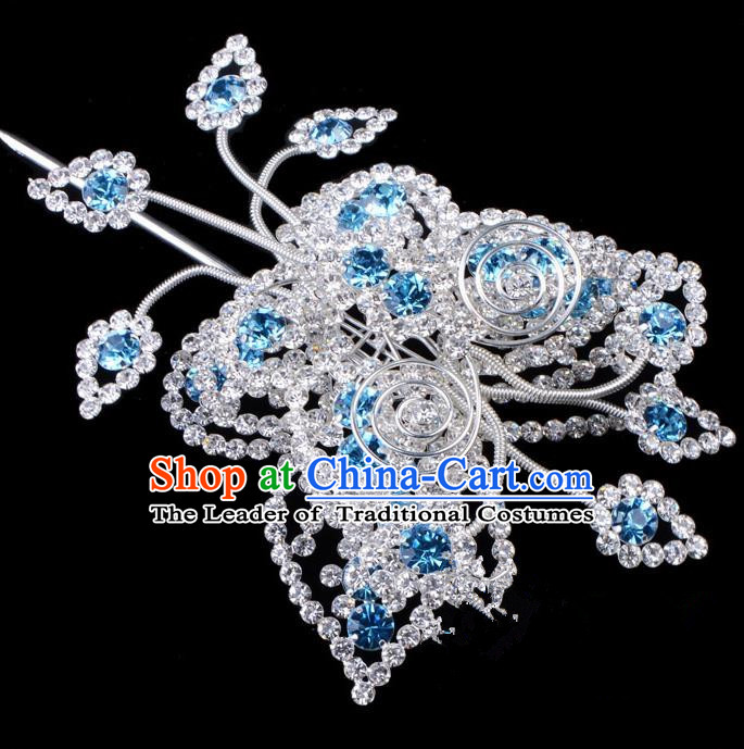 Traditional Beijing Opera Diva Hair Accessories Blue Crystal Butterfly Head Ornaments, Ancient Chinese Peking Opera Hua Tan Large Hairpins Hair Stick Headwear