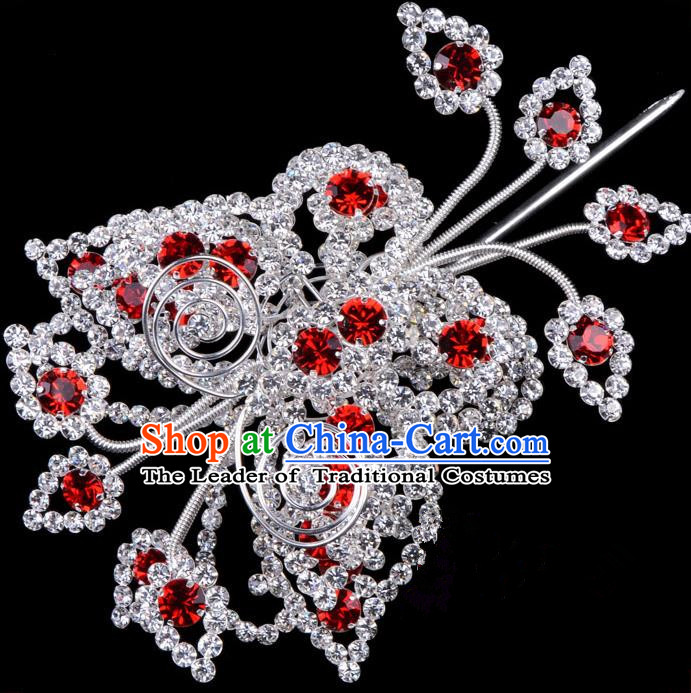 Traditional Beijing Opera Diva Hair Accessories Red Crystal Butterfly Head Ornaments, Ancient Chinese Peking Opera Hua Tan Large Hairpins Hair Stick Headwear