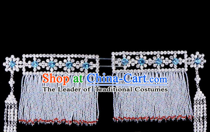 Traditional Beijing Opera Diva Hair Accessories Blue Crystal Head Ornaments Temples Curtain Hairpins, Ancient Chinese Peking Opera Hua Tan Tassel Hair Stick Headwear