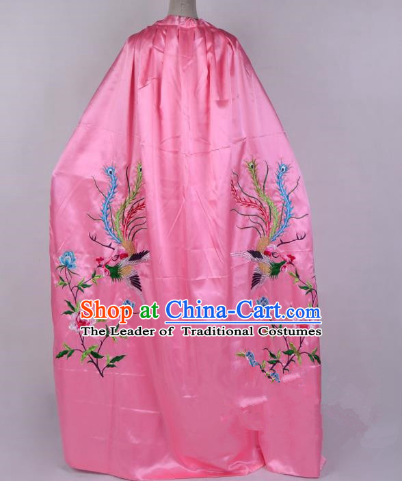 Top Grade Professional Beijing Opera Diva Costume Young Lady Embroidered Pink Cloak, Traditional Ancient Chinese Peking Opera Princess Embroidery Phoenix Mantle Clothing