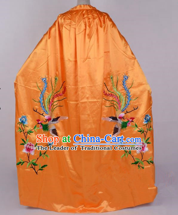 Top Grade Professional Beijing Opera Diva Costume Young Lady Embroidered Yellow Cloak, Traditional Ancient Chinese Peking Opera Princess Embroidery Phoenix Mantle Clothing