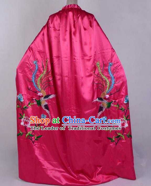 Top Grade Professional Beijing Opera Diva Costume Young Lady Embroidered Rosy Cloak, Traditional Ancient Chinese Peking Opera Princess Embroidery Phoenix Mantle Clothing