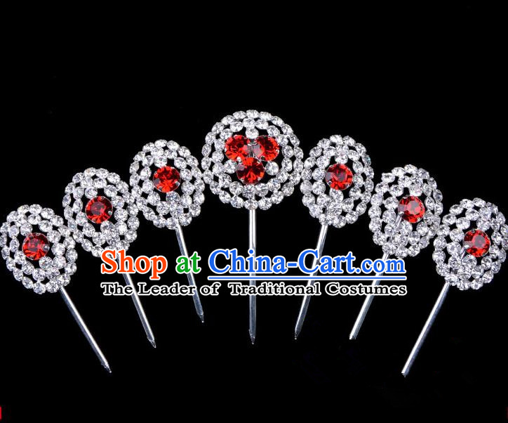Traditional Beijing Opera Diva Hair Accessories Crystal Head Ornaments Hairpins Complete Set, Ancient Chinese Peking Opera Hua Tan Hair Stick Headwear
