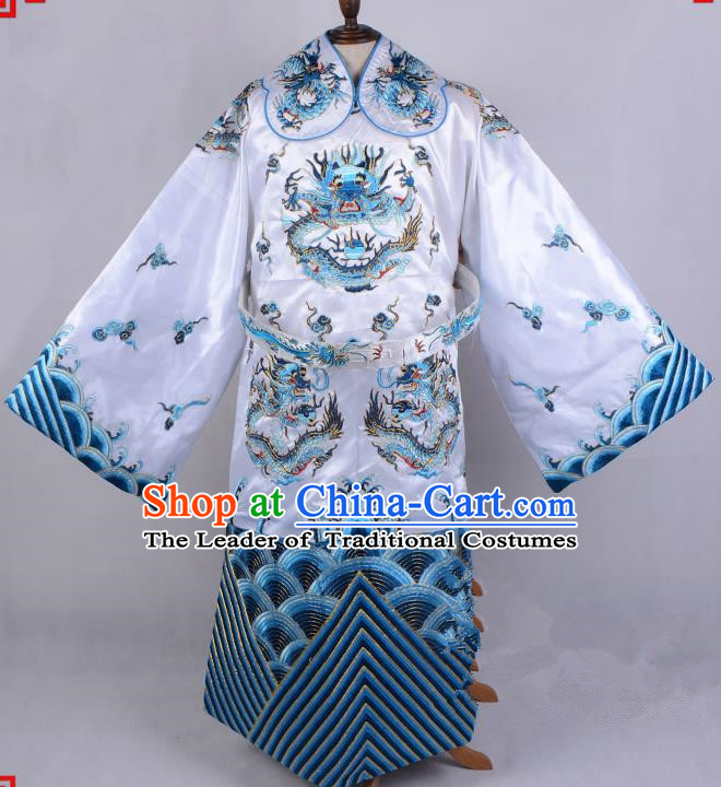 Top Grade Professional Beijing Opera Emperor Costume Royal Highness White Embroidered Robe and Belts, Traditional Ancient Chinese Peking Opera Embroidery Dragons Clothing