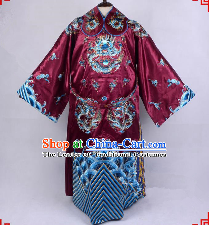 Top Grade Professional Beijing Opera Emperor Costume Royal Highness Amaranth Embroidered Robe and Belts, Traditional Ancient Chinese Peking Opera Embroidery Dragons Clothing